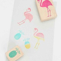 Yellow Owl Workshop Flamingo Pineapple Stamp- Set of 2- Assorted One