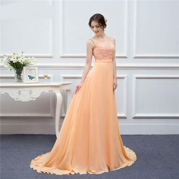 High Quality Dress For Prom Dresses Long Evening Gown Peach Lace Floor Length Long Prom Gown