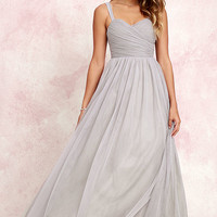 Sunday Kind of Love Grey Tulle Gown