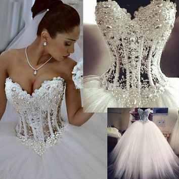 Sexy Corset Beading Sweetheart Neck Wedding Gown Ivory Ball Gown Wedding Dress Lace Bride Dress