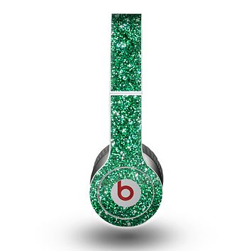 The Green Glitter Print Skin for the Beats by Dre Original Solo-Solo HD Headphones