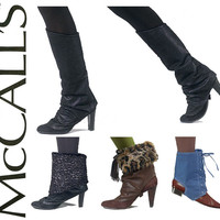 Spats and Boot Toppers Pattern Uncut McCalls M6615 Lace Up Granny Stirrup Boot Toppers Faux Fur Boot Cuffs Leg Warmers Womens Sewing Pattern