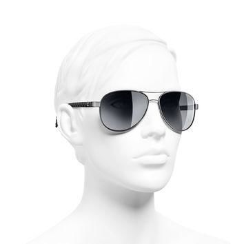 Silver & black Pilot Quilting Chanel Sunglasses with Black Mirror Lenses