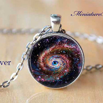 Space Nebula Galaxy  Milkyway Pendant Colorful Celestial red gold stars 1 inch Round 25mm Resin Pendant Bezel Free Domestic Shipping