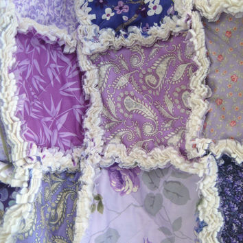Baby Rag Quilt, Blanket, Patchwork - Crib Size - Designer Medley Purple, Lavender, Lilac, Orchid - Ready to Ship