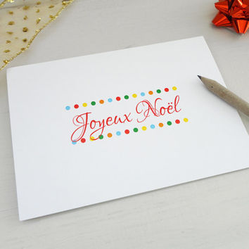 Joyeux Noel Christmas card merry christmas in french dots xmas greeting card