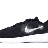 Girls' Nike Free RN - Crystallized Swarovski Swoosh - Big Kids' (3.5y-7y) - Black