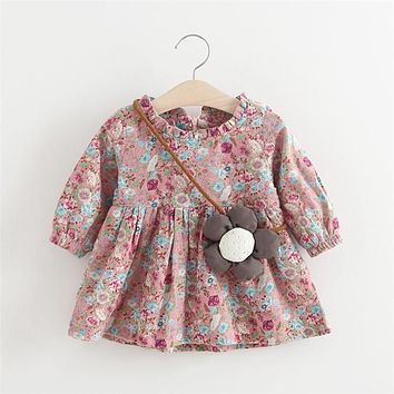 Spring Baby Girls Countryside Style Floral Pirnt Long Sleeve Kids Vintage Dress Infant Clothes vestido infantil
