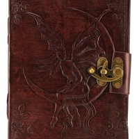 Embossed Leather Crescent Moon Fairy 120 Leaf Diary Journal with Lock
