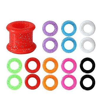 BodyJ4You Silicone Tunnel Plug Set Mix Colors Sparkles Double Flare, Gauges Kit 2G,0G,00G,12mm - 8 Pairs