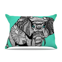 "Pom Graphic Design ""Elephant of Namibia Color"" Pillow Case Fleece"
