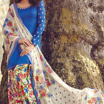 Blue and White Printed Tussar Silk Straight Cut Suit