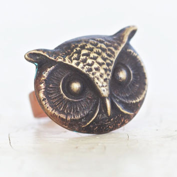 I've Got my Eyes on You OWL Ring - Owl Ring Set in Copper Textured Oxidized Bezel  - Boho Chic