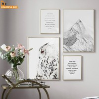 Canvas Art Wall Painting Owl Snow Mountain Nordic Quotes Posters And Prints Kids Wall Pictures For Living Room Hone Wall Decor