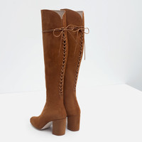 HIGH HEEL LEATHER BOOTS WITH LACES