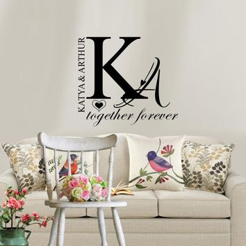 Personalized Couple Name Wall Sticker Creative Individual Decals Wallpaper for Home Bedroom Decoration
