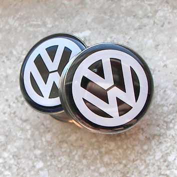 "Volkswagen Emblem Plugs - One PAIR - Sizes 2g, 0g, 00g, 7/16"", 1/2"", 9/16"", 5/8"", 3/4"", 7/8"", 1"" - Made To Order"