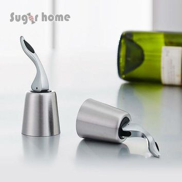 LMF9GW Free Shipping Stainless Steel Vacuum Sealed Red Wine Storage Bottle Stopper Plug Bottle Cap Hot sale
