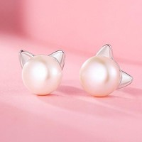 Cat Earrings Sterling Silver Cultured Freshwater Pearl Stud Earrings + Gift Box