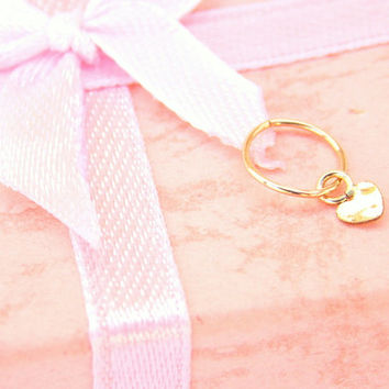 Tiny hoop loop gold filled with tiny heart charm for Helix Piercing,Cartilage Earring,Piercing Jewelry, nose ring hoop.