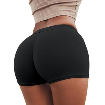 Women Summer High Waist Skinny Shorts Solid Color Package Hip Sports Gym Workout Compression Push Up Activewear -85