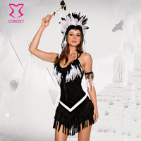 Black Flannel & White Feather Tassels Plus Size Indian Fancy Dress Sexy Costumes Women Halloween Costume Adult Cosplay Clothing