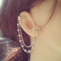 Imitation Pearls and Flower Ear Cuff - Earring Stud, Silver plated, Chain