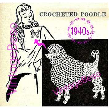 DIGITAL PATTERN • Poodle Crochet Pattern • Retro 1940s • Digital Pattern • Dog Crochet Pattern • Just the thing for your Poodle Skirt