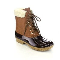 AXNY DYLAN-3 Women's Two Tone Lace Up Ankle Rain Duck Boots One Size Small, Color:BORDEAUX, Size:9
