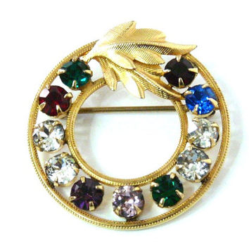 Vintage 50s Brooch Van Dell 14K Gold Ruby Emerald Rhinestone, Sapphire, Gold Leaf, Wedding Dress pin