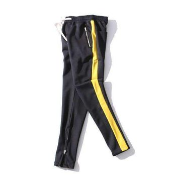 Mens Zipper Pocket Trouser Justin Bieber Multicolor Elastic Waist Mens Track Pants Ankle Zip Tapered Sweatpants