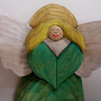 Hand carved Folk Art Angel relief style wood carving gift white wings golden halo sea green dress hand made in Wisconsin by the Old Bear