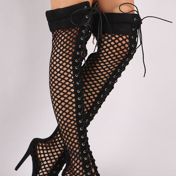Suede Fishnet Lace Up Stiletto Heeled Over-The-Knee Boots | UrbanOG