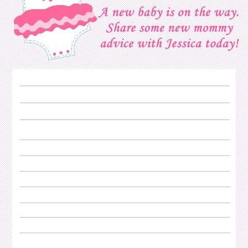 10 Pink Onesuit Baby Shower Advice Cards