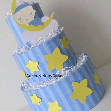 Moon and Stars Diaper Cake,Boy Baby Shower Diaper Cake,Blue Diaper Cake,Baby shower Centerpiece,New Mom Gift,Baby Shower Gift, New Baby Gift