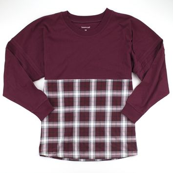 Maroon and White Plaid Pom Pom Jersey