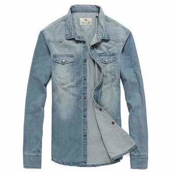 Mens Chest Pockets Stylish Washed Button Up Denim Shirts