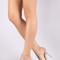 Qupid Transparent Cutout Caged Metallic Stiletto Heel