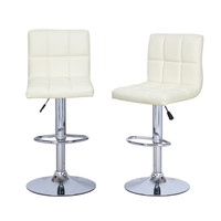 Cream Leatherette Faux Tufted Adjustable Bar Stools (Set of two)