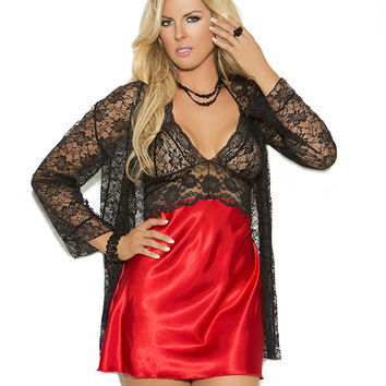 Elegant Moments - 3pc Baby Doll with Matching G-String and Jacket Plus Size