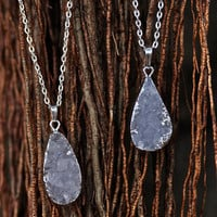 Quartz Druzy Crystal Necklace | White Druzy Geode Crystals | Raw Clear Quartz on Silver Chain | Druzy Charm | Crystal Boho Necklace