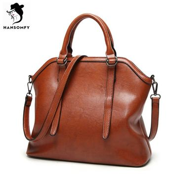 HANSOMFY Bag Women Solid Patent Leather Shoulder Bag Women Vintage Shell Large Tote Bags High Quality PU Handbags For Lady 2017