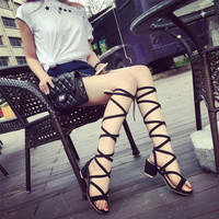 Thick heel summer shoes Strappy Roman Goth Gladiator Lace Up Sandals