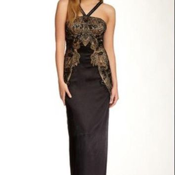 Sue Wong - N4202 Beaded Satin Halter Evening Gown