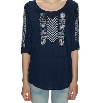 3/4 Sleeves Embroidered Top