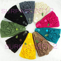 NEW Women handmade flower pearl wide big size knit headband Adjustable headwrap crochet hairband winter ear warmer