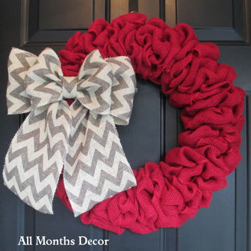 Red Burlap Wreath with Gray Chevron Burlap Bow, Rustic, Country Decor, Spring Easter Fall Winter, Year Round, Fall, Porch Door