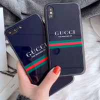 GUCCI tide brand bee printing iphone7plus men and women models i6s glass phone case F0970-1 Black