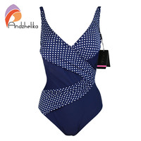 Andzhelika 2016 New One Piece Swimsuit Women Vintage Bathing Suits Plus Size Swimwear Padded Print Polka Dot Bodysuit Swim Wear