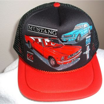 """65-66"" Mustang in 3-D graphic on a new black mesh ball cap w/red bill"